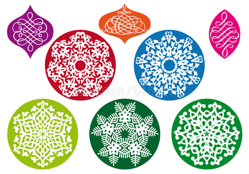 Σφαίρες Χριστουγέννων με snowflake το πρότυπο, διάνυσμα απεικόνιση αποθεμάτων