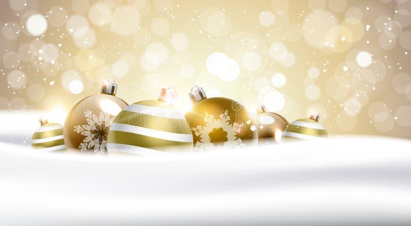 Σφαίρες Χριστουγέννων πέρα από το ακτινοβολώντας χρυσό έμβλημα διακοσμήσεων χειμερινών διακοπών υποβάθρου ελεύθερη απεικόνιση δικαιώματος