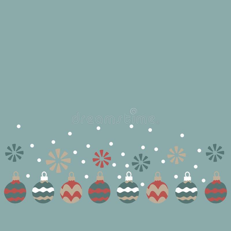 Σφαίρες Χριστουγέννων, snowflakes Διανυσματικές απεικονίσεις για τις ευχετήριες κάρτες, τις αφίσες και τις προσκλήσεις απεικόνιση αποθεμάτων