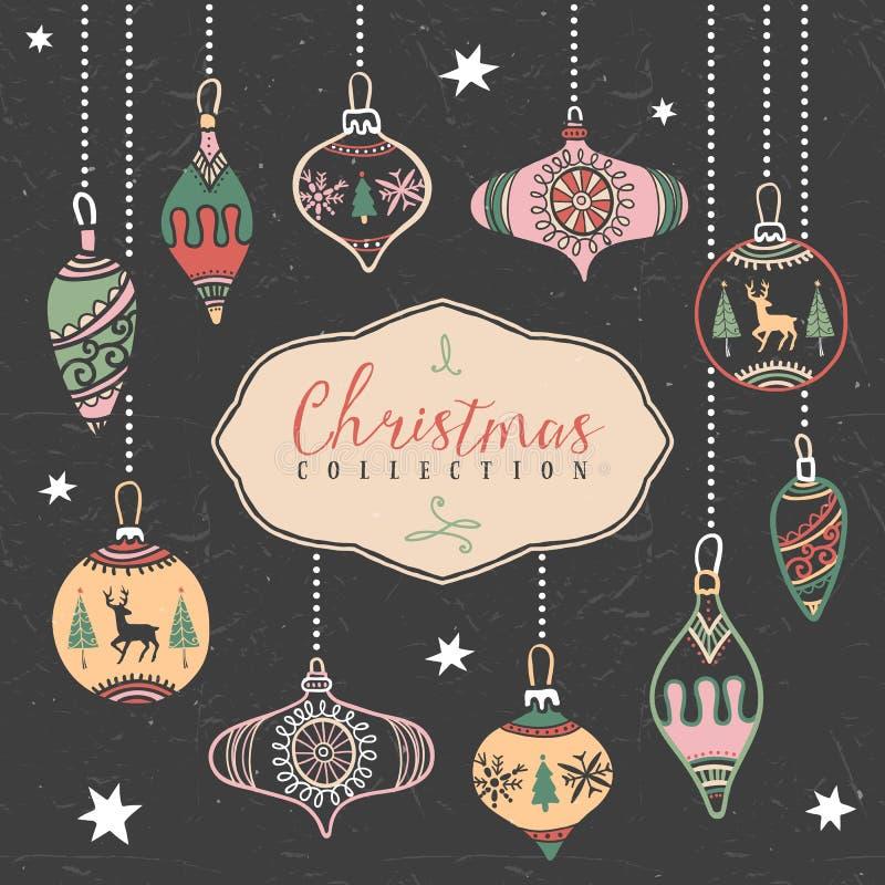 Σφαίρες χριστουγεννιάτικων δέντρων συρμένος εικονογράφος απεικόνισης χεριών ξυλάνθρακα βουρτσών ο σχέδιο όπως το βλέμμα κάνει την απεικόνιση αποθεμάτων