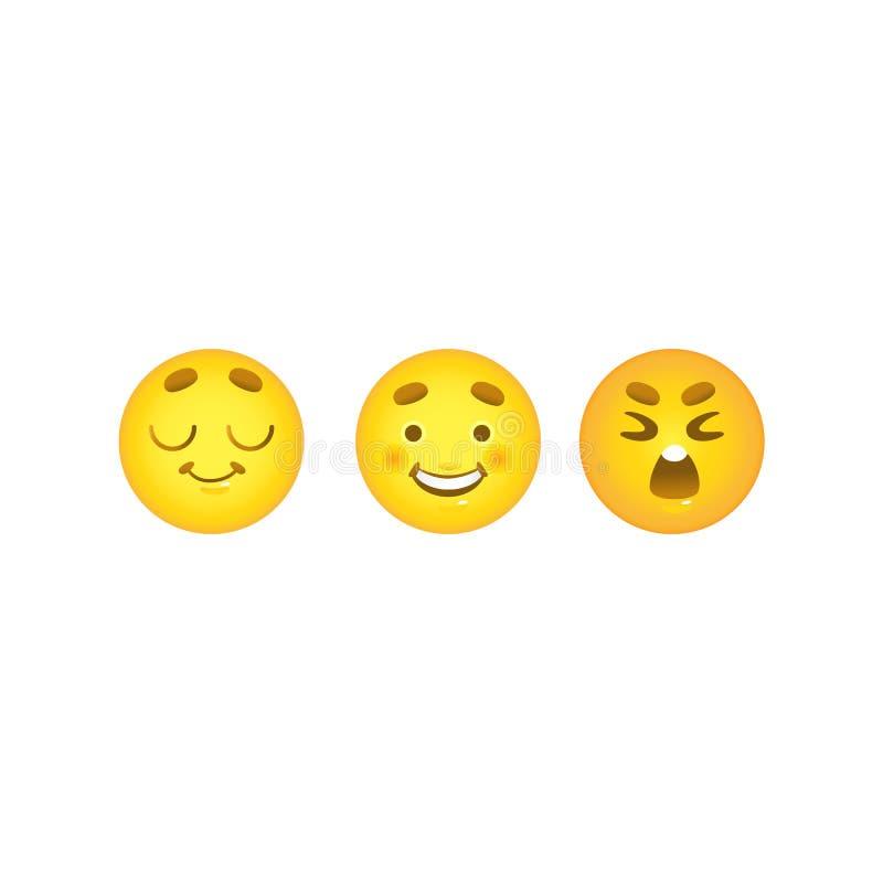 Σφαίρες Smiley emoticon που τίθενται με τις ονειρεμένος, ευτυχείς και φωνάζοντας συγκινήσεις προσώπου που απομονώνονται στο άσπρο διανυσματική απεικόνιση