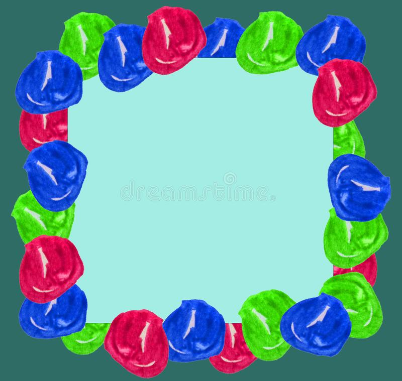 Σφαίρες Watercolor υπό μορφή πλαισίου σε ένα μπλε και πράσινο υπόβαθρο Χριστουγέννων Μπορέστε να χρησιμοποιηθείτε για τις κάρτες, ελεύθερη απεικόνιση δικαιώματος