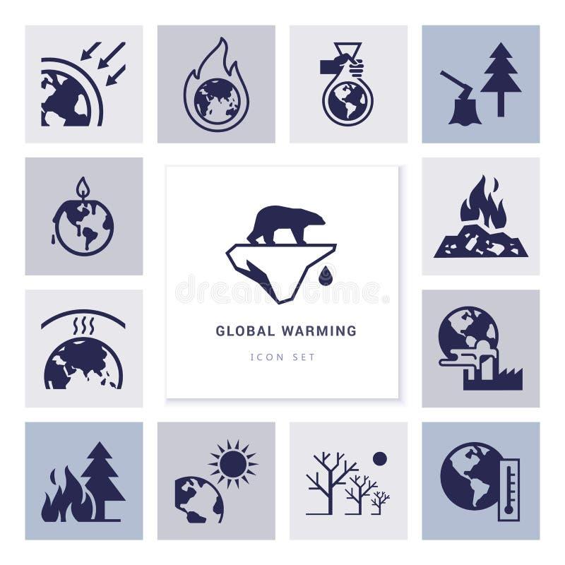 Σφαιρικά θερμαίνοντας διανυσματικά εικονίδια στο θέμα των προβλημάτων οικολογίας του πλανήτη μας συνολικά ελεύθερη απεικόνιση δικαιώματος