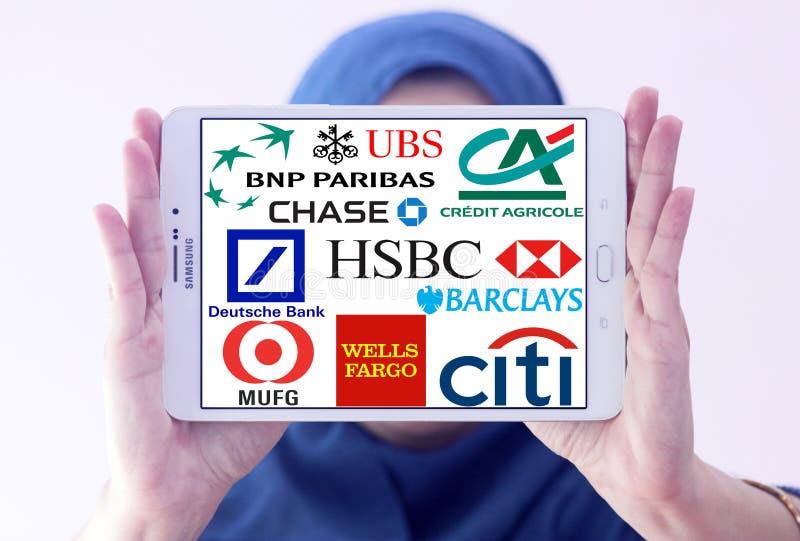 Σφαιρικά λογότυπα εικονιδίων τραπεζών στοκ εικόνες με δικαίωμα ελεύθερης χρήσης