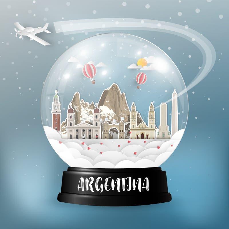 Σφαιρικά ταξίδι ορόσημων της Αργεντινής και υπόβαθρο εγγράφου ταξιδιών Β διανυσματική απεικόνιση