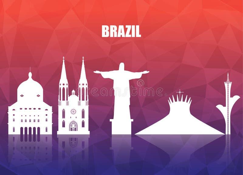 Σφαιρικά ταξίδι ορόσημων της Βραζιλίας και υπόβαθρο εγγράφου ταξιδιών Vect διανυσματική απεικόνιση