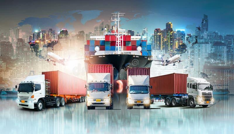 Σφαιρικά υπόβαθρο εισαγωγής-εξαγωγής επιχειρησιακών διοικητικών μεριμνών και σκάφος φορτίου φορτίου εμπορευματοκιβωτίων απεικόνιση αποθεμάτων