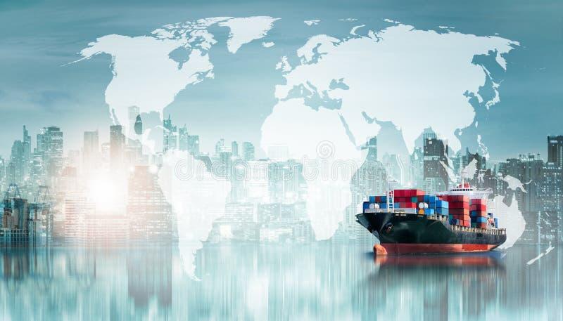 Σφαιρικά υπόβαθρο εισαγωγής-εξαγωγής επιχειρησιακών διοικητικών μεριμνών και σκάφος φορτίου φορτίου εμπορευματοκιβωτίων στοκ φωτογραφία