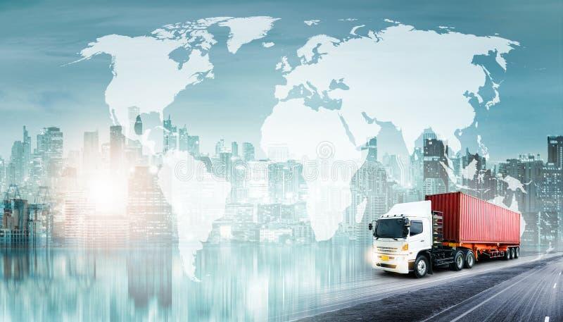 Σφαιρικά υπόβαθρο εισαγωγής-εξαγωγής επιχειρησιακών διοικητικών μεριμνών και σκάφος φορτίου φορτίου εμπορευματοκιβωτίων στοκ φωτογραφία με δικαίωμα ελεύθερης χρήσης