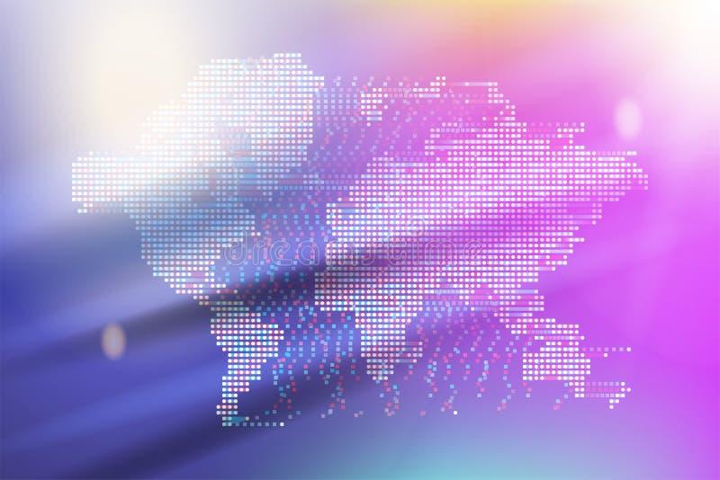 Σφαιρικές ψηφιακές επικοινωνίες εμβλημάτων Αφηρημένος παγκόσμιος χάρτης με τα τετραγωνικά σημεία και την πολύχρωμη κλίση Επίπεδο  διανυσματική απεικόνιση