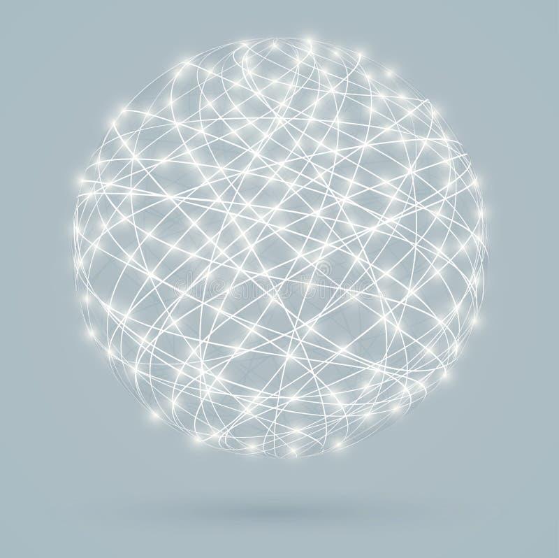 Σφαιρικές ψηφιακές συνδέσεις με τα φω'τα πυράκτωσης ελεύθερη απεικόνιση δικαιώματος