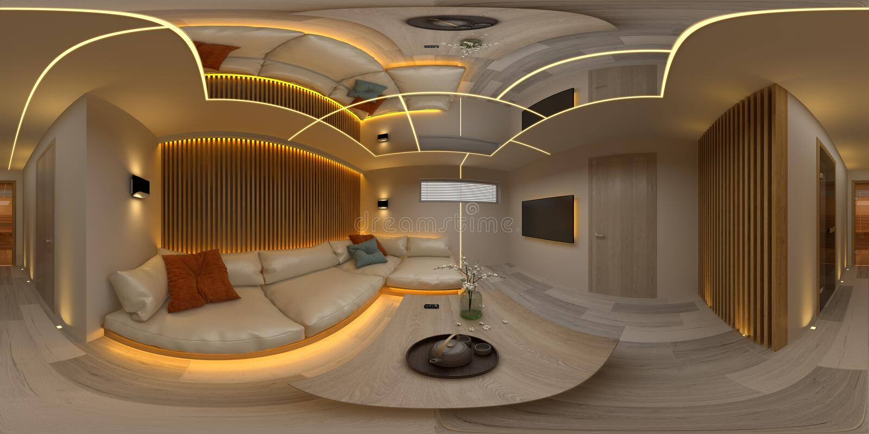 Σφαιρική άνευ ραφής πανοράματος 360 τρισδιάστατη απεικόνιση δωματίων σύγχρονου σχεδίου προβολής εσωτερική διανυσματική απεικόνιση
