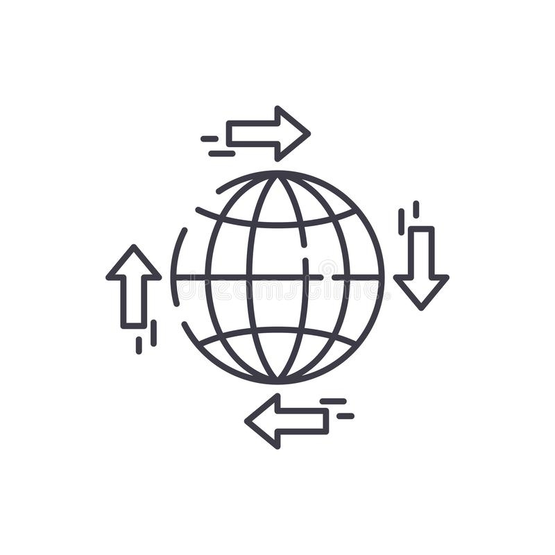 Σφαιρική έννοια εικονιδίων γραμμών διανομής Σφαιρική διανυσματική γραμμική απεικόνιση διανομής, σύμβολο, σημάδι ελεύθερη απεικόνιση δικαιώματος