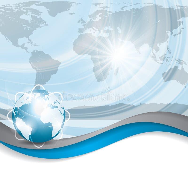 Σφαιρική έννοια επιχειρησιακού διανυσματική μπλε ασημένια υποβάθρου ελεύθερη απεικόνιση δικαιώματος