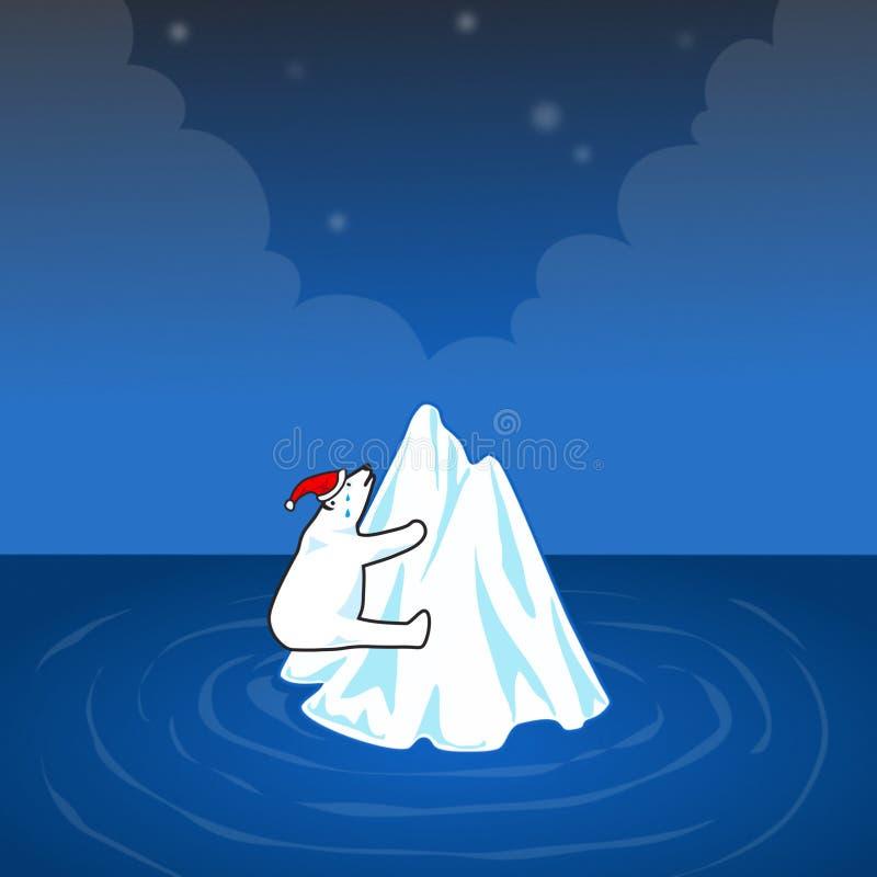 Σφαιρική έννοια θέρμανσης με τη πολική αρκούδα. ελεύθερη απεικόνιση δικαιώματος