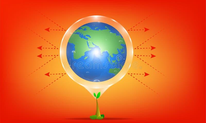 Σφαιρική έννοια θέρμανσης το δέντρο είναι προστάτης sunray από τον ήλιο καυτός πλανήτης απεικόνιση esp10 ελεύθερη απεικόνιση δικαιώματος