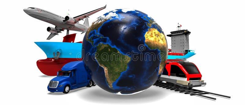 Σφαιρική έννοια μεταφορών φορτίου απεικόνιση αποθεμάτων