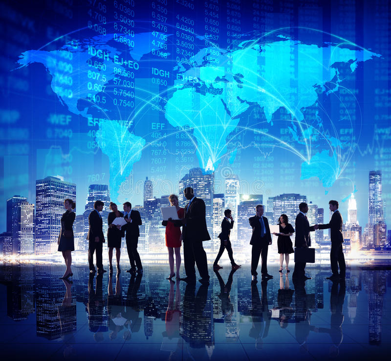 Σφαιρική έννοια πόλεων χρηματοδότησης χρηματιστηρίου επιχειρηματιών στοκ εικόνες