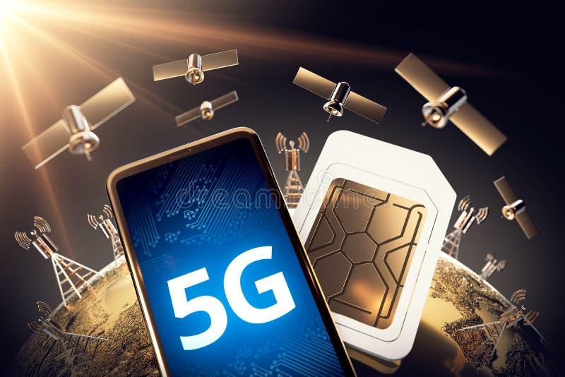 Σφαιρική έννοια συνδετικότητας με το παγκόσμιο δίκτυο επικοινωνίας και τη λέξη 5G τρισδιάστατη απόδοση στοκ εικόνες