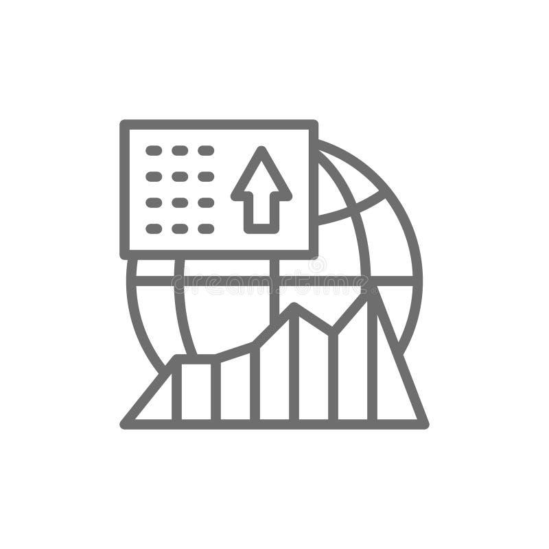 Σφαιρική ανάπτυξη χρηματιστηρίου, εικονίδιο γραμμών παγκόσμιας οικονομικής ανάπτυξης ελεύθερη απεικόνιση δικαιώματος