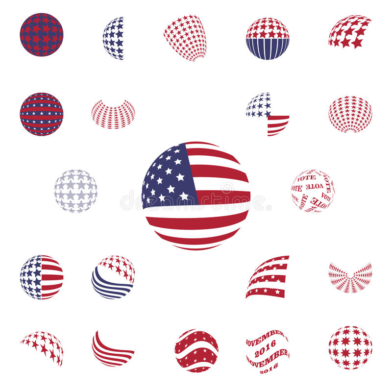 Σφαιρική γκρίζα ΑΜΕΡΙΚΑΝΙΚΗ σημαία συμβόλων χρώματος ελεύθερη απεικόνιση δικαιώματος