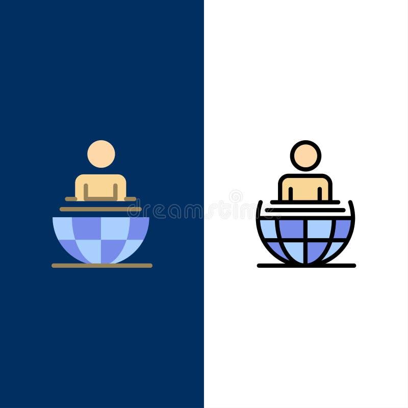 Σφαιρική διαδικασία, επιχείρηση, διεθνή, σύγχρονα εικονίδια Επίπεδος και γραμμή γέμισε το καθορισμένο διανυσματικό μπλε υπόβαθρο  απεικόνιση αποθεμάτων