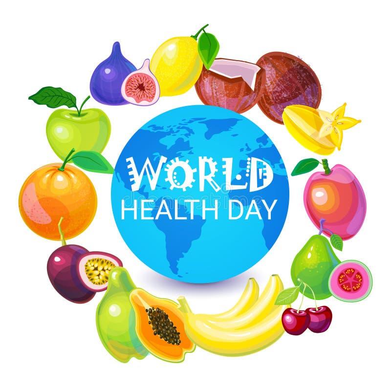 Σφαιρική ευχετήρια κάρτα διακοπών παγκόσμιας ημέρας υγείας γήινων πλανητών ελεύθερη απεικόνιση δικαιώματος