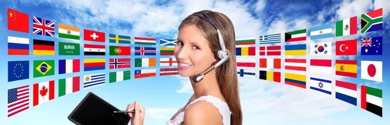 Σφαιρική διεθνής έννοια επικοινωνιών χειριστών τηλεφωνικών κέντρων στοκ εικόνα