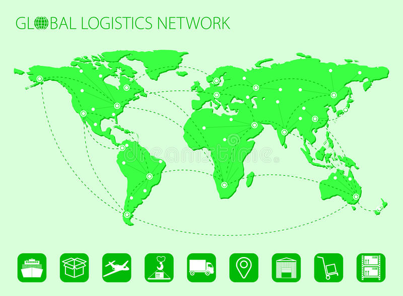 Σφαιρική μεταφορά δικτύων διοικητικών μεριμνών Σφαιρική συνεργασία διοικητικών μεριμνών χαρτών Σύνολο εικονιδίων διοικητικών μερι ελεύθερη απεικόνιση δικαιώματος