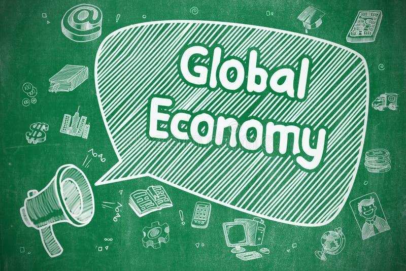 Σφαιρική οικονομία - απεικόνιση Doodle στον πράσινο πίνακα κιμωλίας διανυσματική απεικόνιση
