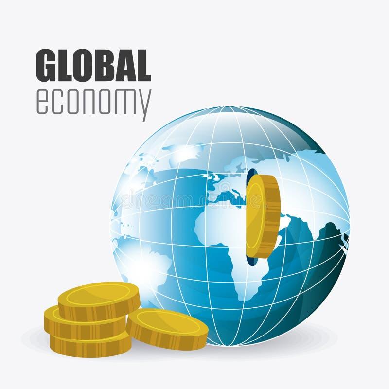 Σφαιρική οικονομία, χρήματα και επιχείρηση απεικόνιση αποθεμάτων