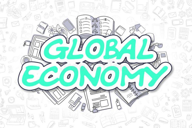 Σφαιρική οικονομία - Doodle το πράσινο Word χρυσή ιδιοκτησία βασικών πλήκτρων επιχειρησιακής έννοιας που φθάνει στον ουρανό ελεύθερη απεικόνιση δικαιώματος