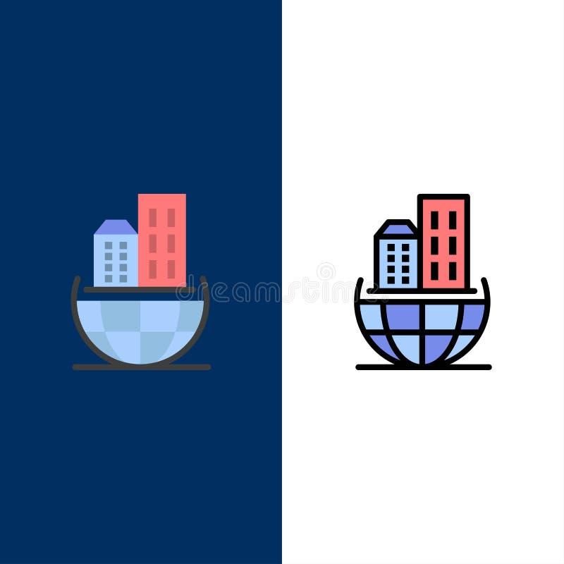 Σφαιρική οργάνωση, αρχιτεκτονική, επιχείρηση, βιώσιμα εικονίδια Επίπεδος και γραμμή γέμισε το καθορισμένο διανυσματικό μπλε υπόβα διανυσματική απεικόνιση