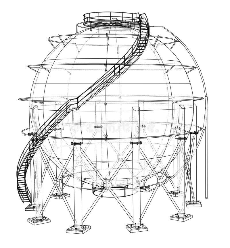 Σφαιρική περίληψη δεξαμενών αερίου διάνυσμα ελεύθερη απεικόνιση δικαιώματος
