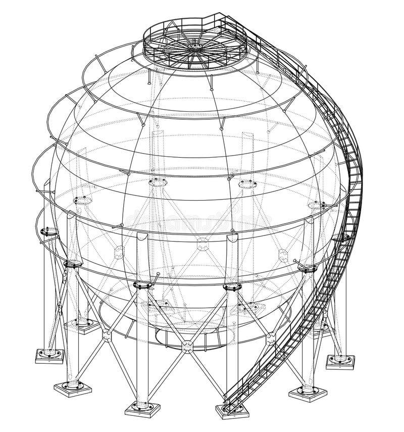 Σφαιρική περίληψη δεξαμενών αερίου διάνυσμα απεικόνιση αποθεμάτων