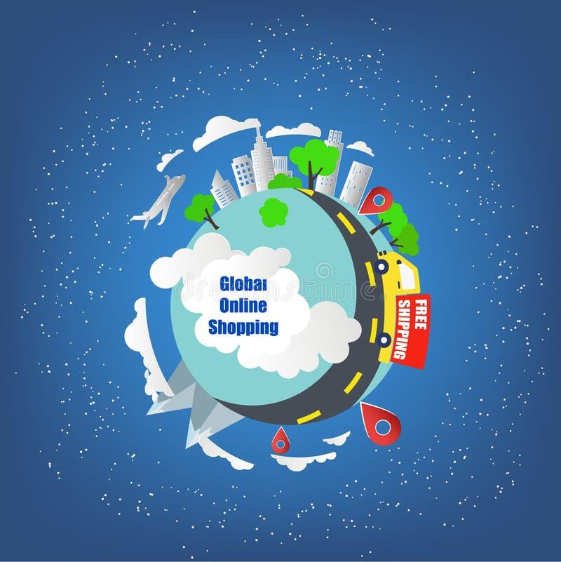 Σφαιρική σε απευθείας σύνδεση έννοια αγορών Διεθνής φορτίο ή ναυτιλία ελεύθερη απεικόνιση δικαιώματος