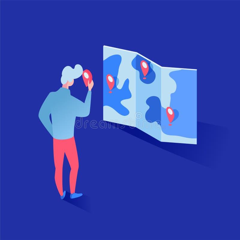 Σφαιρική isometric απεικόνιση analytics αγοράς Αρσενικός εμπειρογνώμονας που μελετά geotags στον τρισδιάστατο χάρτη, προγράμματα  διανυσματική απεικόνιση