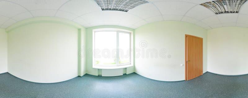 Σφαιρικοί 360 βαθμοί προβολής πανοράματος, πανόραμα στο εσωτερικό κενό δωμάτιο στο σύγχρονο επίπεδο πράσινο τόνο διαμερισμάτων στοκ εικόνα με δικαίωμα ελεύθερης χρήσης