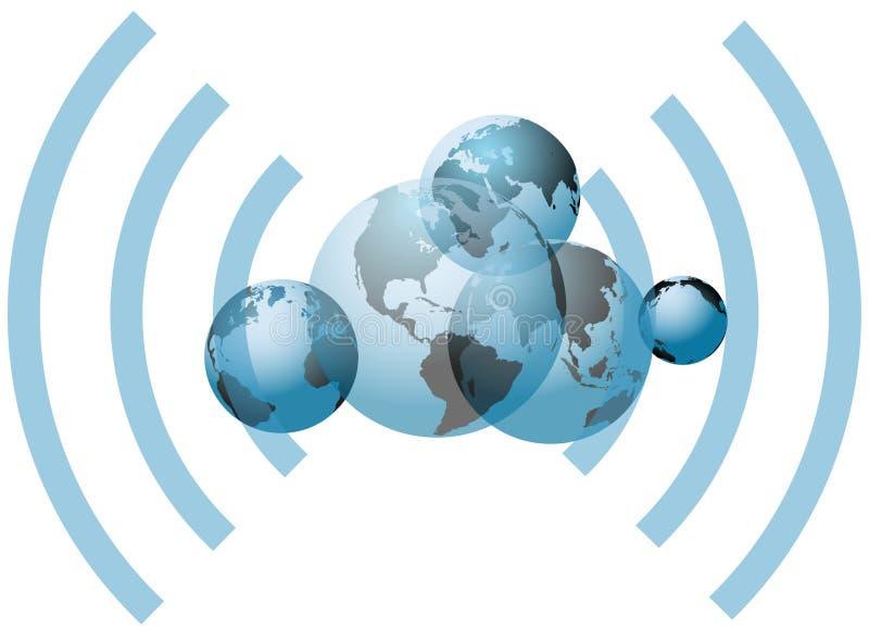 Σφαιρικοί κόσμοι σύνδεσης δικτύων wifi διανυσματική απεικόνιση