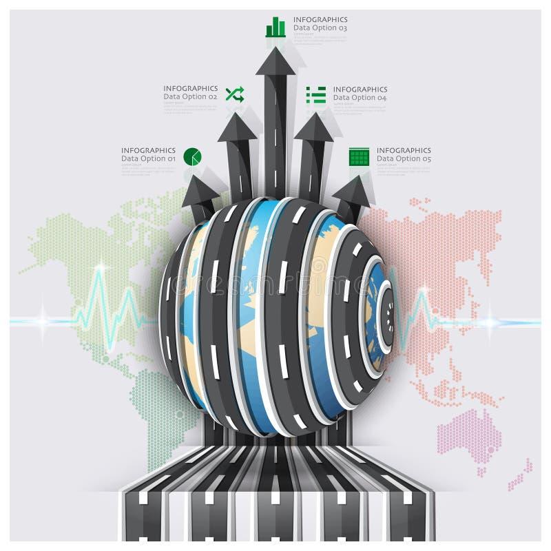 Σφαιρικοί δρόμος και οδός για το ταξίδι και την επιχείρηση Infograph ταξιδιών ελεύθερη απεικόνιση δικαιώματος