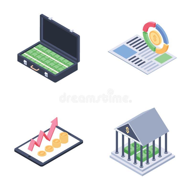 Σφαιρικός, ερανικός και οικονομικά Isometric διανύσματα τάσεων καθορισμένοι απεικόνιση αποθεμάτων