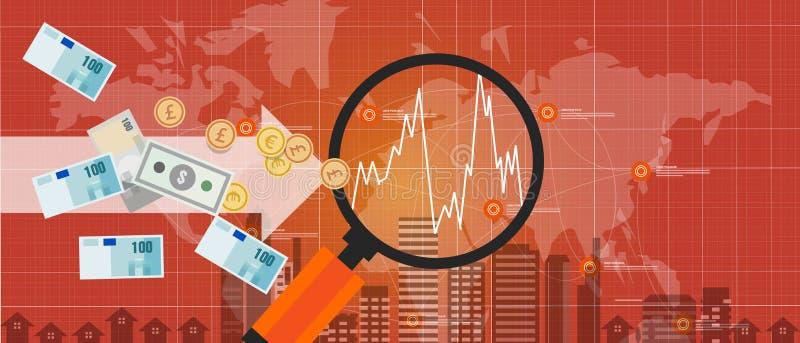 Σφαιρικός κόσμος αύξησης ανταλλαγής χρημάτων ξένης επένδυσης διεθνής διανυσματική απεικόνιση