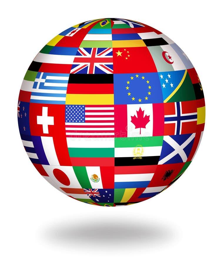 σφαιρικός κόσμος σημαιών απεικόνιση αποθεμάτων