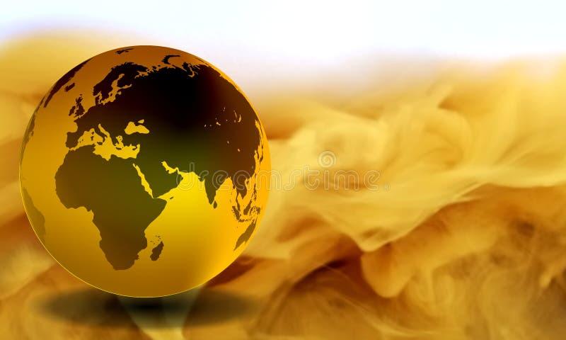 Σφαιρικός με το κίτρινο καπνώές υπόβαθρο διανυσματική απεικόνιση
