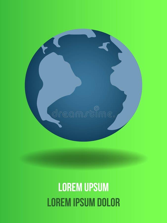Σφαιρικός στο πράσινο υπόβαθρο Πηγαίνετε πράσινο υπόβαθρο οικολογίας για τις περιβαλλοντικές αφίσες σεβασμού απεικόνιση αποθεμάτων