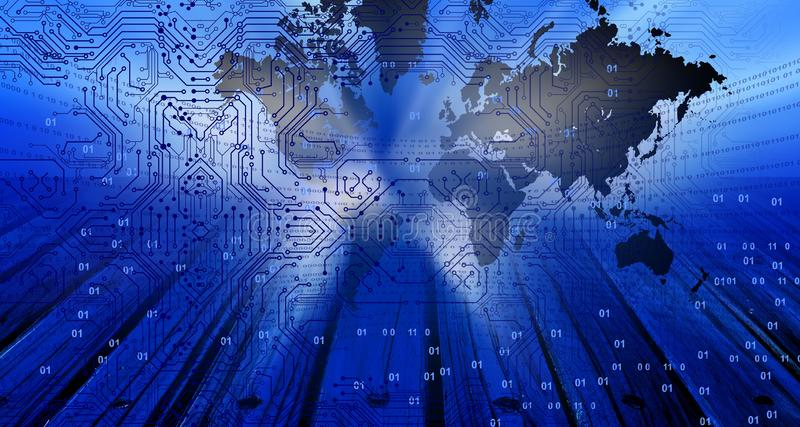 Σφαιρικό έμβλημα τεχνολογίας παγκόσμιων χαρτών Υπόβαθρο επιχειρησιακής τεχνολογίας διανυσματική απεικόνιση