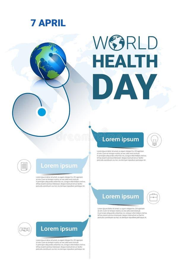Σφαιρικό έμβλημα διακοπών παγκόσμιας ημέρας υγείας γήινων πλανητών με το διάστημα αντιγράφων ελεύθερη απεικόνιση δικαιώματος