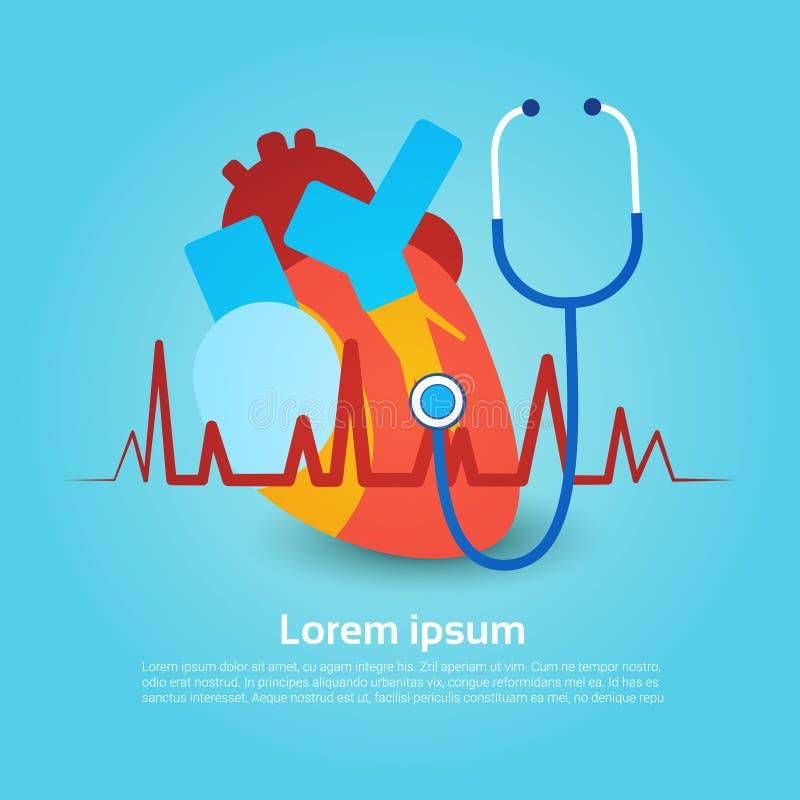Σφαιρικό έμβλημα διακοπών παγκόσμιας ημέρας υγείας στηθοσκοπίων καρδιών με το διάστημα αντιγράφων διανυσματική απεικόνιση