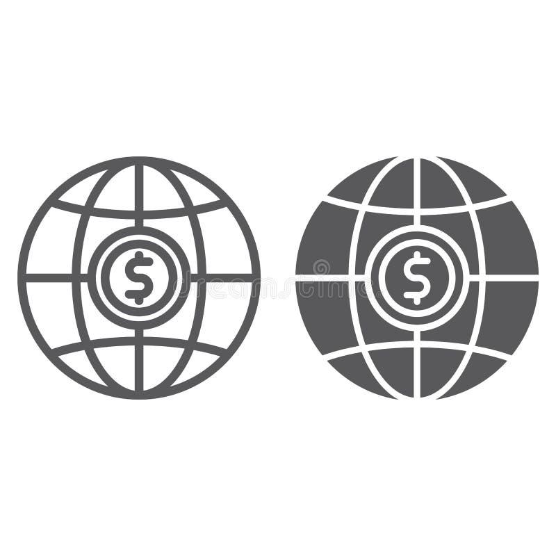 Σφαιρικό γραμμή και glyph εικονίδιο, πλανήτης και κόσμος, σημάδι σφαιρών, διανυσματική γραφική παράσταση, ένα γραμμικό σχέδιο σε  απεικόνιση αποθεμάτων