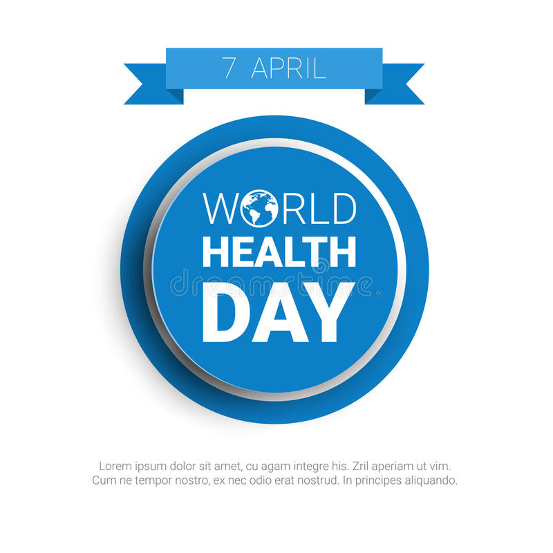 Σφαιρικό γραμματόσημο διακοπών παγκόσμιας ημέρας υγείας γήινων πλανητών ελεύθερη απεικόνιση δικαιώματος